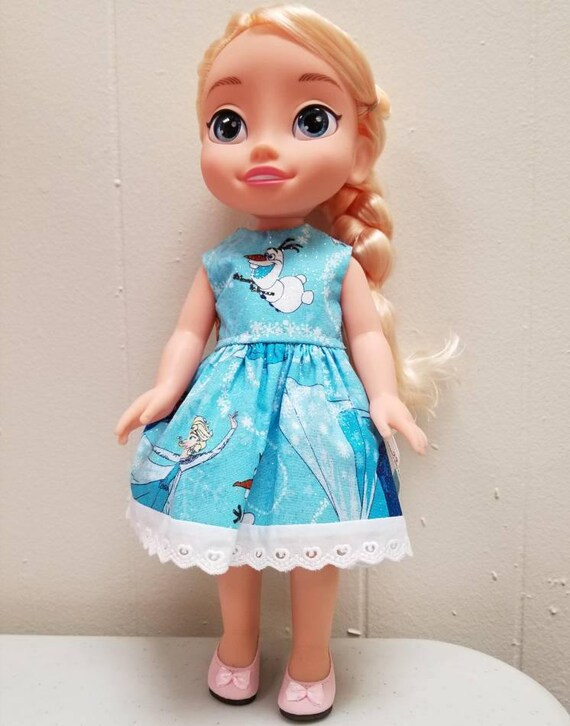 Frozen Dress for Disney Dolls and Wellie Wisher Doll. The fabric placement may vary.