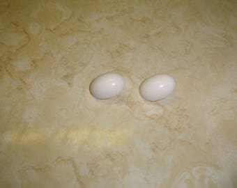 vintage clip on earrings white oval lucite
