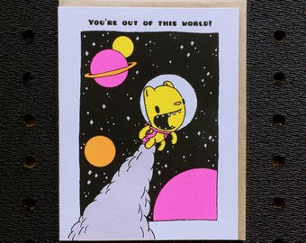 out of this world card, space card, cute valentine, card with glitters