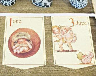 Gumnut Babies Counting Bunting. May Gibbs Banner Australiana Children. Garland Nursery Decor Book Page New Baby. Shower Numbers Handmade