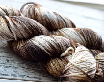 Hand Dyed Superwash Merino Wool Yarn - Worsted weight - Chocolate Ripple