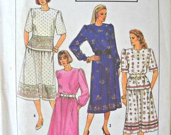 Simplicity 9310, Misses/Miss Petite Two Piece Dress pattern, sizes 14-20, Factory Folded Uncut, Vintage 1989