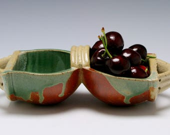 Handmade Ceramic Double Bowl Serving Dish in Dark Green and Burnt Umber/Ceramics and Pottery