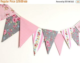 ON SALE Shabby Chic Fabric Banners, Wedding Bunting, Pennents, Pink and Grey Shade - 3 yards (3nd version)