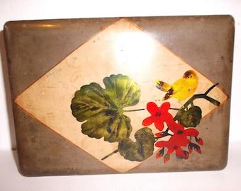 Antique Asian Laquered Wood Box Desk Storage Keepsake Chest Tea Chest Spice Chest