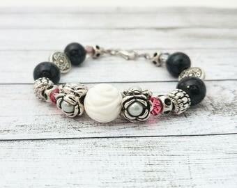 White Rose Charm Bracelet - Roses and Silver Colour Beads Charm Bracelet