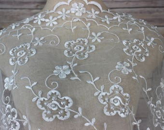 Ivory Bridal Lace Fabric with Allover Satin Embroidery with Faux Pearls, Sequins and Scalloped Edges. Bridal Wear-Wraps-Hats-Veils-Blouses