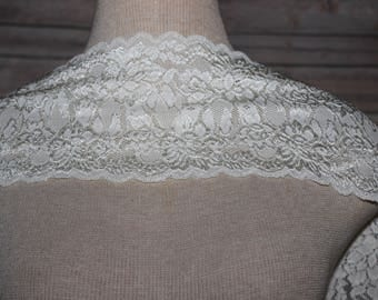 Ivory  Floral Stretch Lace Trim - Bridal garter-headband-lingerie-Lace Boot Socks-Stretch lace is the perfect choice for lingerie-tanks