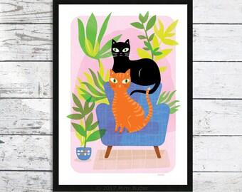 Cat - The Cat Jungle A4 cat print - Cat art print - Cat prints - Cat print -  Cat picture - Cat lover gift