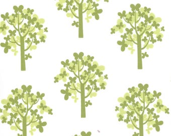 MoMo Fabric, Just Wing It by MoMo for Moda Fabrics, 32443-14, Green Butterfly Trees on White