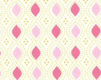 Moda Fabric, Domestic Bliss by Liz Scott for Moda Fabrics, 18077-18 Geometric Beaded Cream Pink
