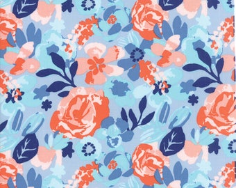 Kate Spain Voyage Fabric by the Yard, Kew in Cloud Blue, Moda Fabrics, 27281-14