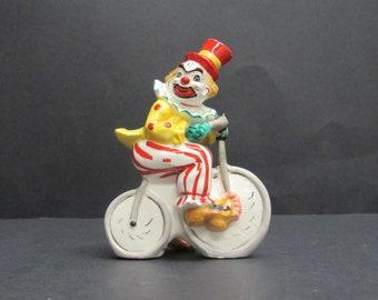 Vintage Circus Clown on a Bike Figurine (E9866)