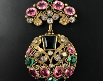 Rare vintage Sandor paste locket pin brooch pendant . rhinestone jewelry.  jewelled locket No.901
