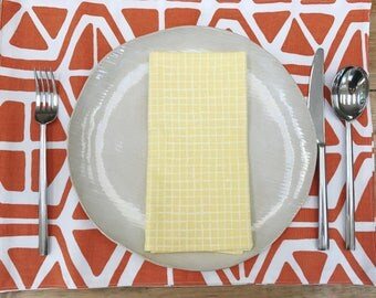 Cotton Handmade Placemats  - Orange Slices Style - Set of 4 - Additional Colors available