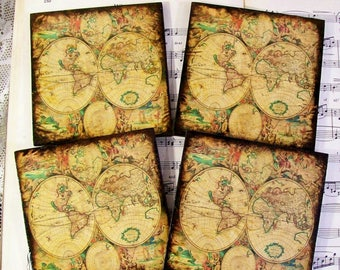Gifts for Men, Historical World Map Coasters, Joan Blaeu 1596-1673 Map, Stained and Antiqued Map, Map and History Art