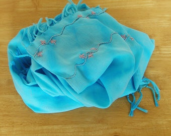 Turquoise Tie Dye Cotton Scarf With Embroidered Details, Hand Dyed Scarf