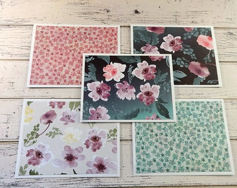 Note Card Set, Note Cards, Thank You Notes, Blank Cards, Set of 5 Note Cards with Matching Envelopes, Floral Note Cards, Juniper Breeze