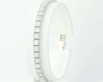 "Art Deco Diamond Bracelet 7"" - Platinum Vintage Link Milgrain Round Cut 7.20ctw N9710"
