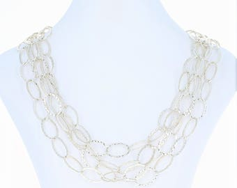 """Textured Oval Link Chain Necklace 102"""" - Sterling Silver Extra Long Length G1263"""