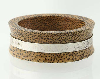 """Spotted Brown Wood Bracelet Hammered Sterling Silver 8.25"""" Statement chunky G1430"""