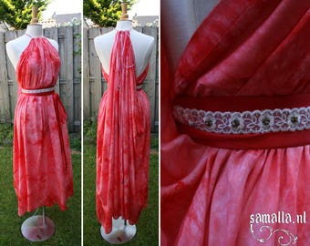 Shea Handmaiden / Grecian Dress - <READY TO SHIP> - one size - (Larp, Cosplay, Ren Faire, Festival) - Red Tie Dye Mousseline and Satin