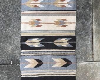 Vintage Hand Woven Mexican Rug Southwestern Runner Blue Grey Boho Hippie Gypsy Home Decor Mexico Bohemian Desert House