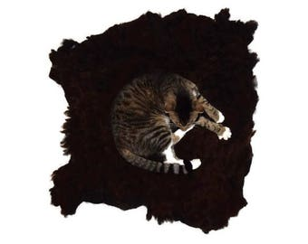 Cruelty Free, Black Welsh Mountain, Cat Bed, Pet Bed, Dog Mat, Wool Fleece, Natural Bed, Humane Sheepskin, Felted, ReadyToShip, Leather Free