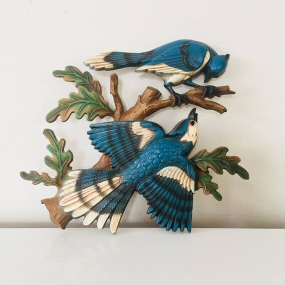 Vintage Sexton Bird Wall Hanging Painted Metal Blue White Birds Wall Decor 70s Boho Decor