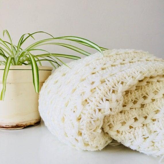 Vintage Cream Afghan Crocheted Afghan Blanket Handmade Ivory Cream Throw with Fringe