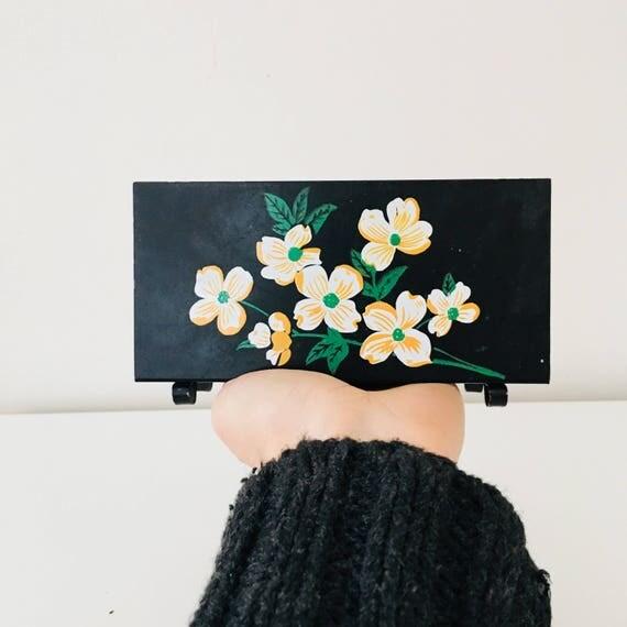 Vintage Black Metal Napkin Holder Handprinted White Orange Green Floral Art Letter Holder