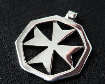 Silver Maltese Cross Pendant