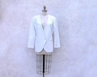 1/2 Off SALE White Leather Jacket, 80s V Neck Blazer
