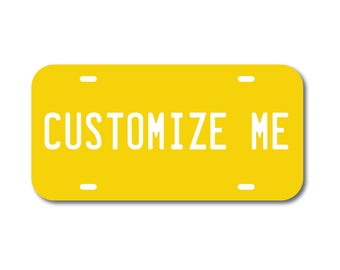Plastic License Plate Custom Yellow Car Tag Custom Personalized Vehicle Business Logo Monogram