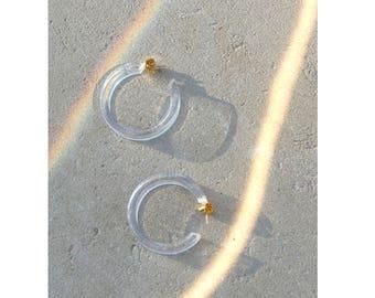 Clear Lucite Earrings / Hoop Earrings / Lucite Earrings / Clear Lucite Hoop Earrings / Minimalist Earrings