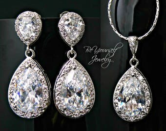 White Crystal Bridal Earrings Teardrop Bride Necklace Cubic Zirconia Wedding Jewelry Bridesmaid Gift Sterling Silver Earrings Bride Pendant