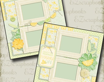 SUNSHINE & LEMONS - 2 Premade Scrapbook Pages - EZ Layout 670