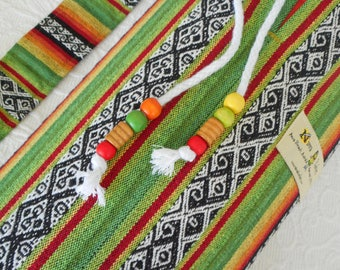 Yoga Mat Bag - Mexican Woven Fabric - RASTA STRIPE COLOURS - Unisex simple design. Pure Cotton, beaded draw string, roomy.