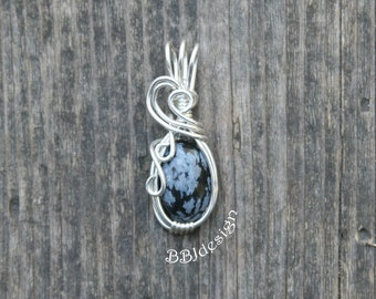 Snowflake Obsidian Gemstone Cabochon Pendant Necklace Sterling Silver Wire Wrapped