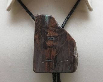 Gorgeous Vintage Deep Chocolate Brown Brecciated Jasper Bolo Tie, Some Turquoise