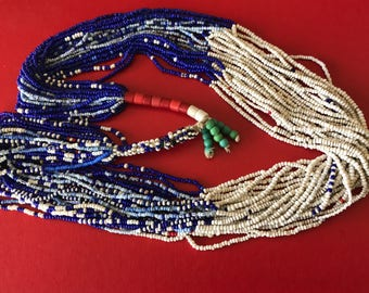 Very Tribal Mostly Blue and White Multi-strand Vintage Seed Bead Woven Multilayered Necklace