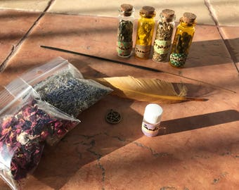 Green Witch Wiccan kit rituals meditation white magic incense witchcraft natural herbs lavender rose petals sandalwood