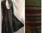 Vintage 1860s Dress Antique Victorian Striped Silk Hoop Skirt Dress Civil War Era