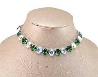 Vintage Signed AUSTRIA Emerald Green & AB Crystal Rhinestone Collar Necklace GORGEOUS!