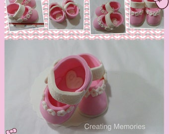 Fondant SHOES Pair of PINK baby girl shoes Cake Topper Made of Vanilla Fondant boy or girls ready to place on your cake or table centerpiece