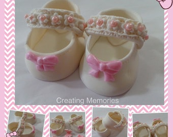 Baby shoes -Baptism shoes for your litle girl.  Cake Topper Made of Vanilla Fondant ready to place on your cake or table center piece