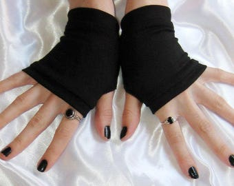 Black jersey knit Fingerless gloves Arm warmers armwarmers arm warmer armwarmer sleeve sleeves thumbholes thumb holes thumbhole gothic goth