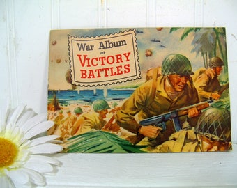 General Mills War Album of Victory Battles - Collectible ©1945 World War ll Stamp Album Booklet Complete with 20 Correctly Placed War Stamps