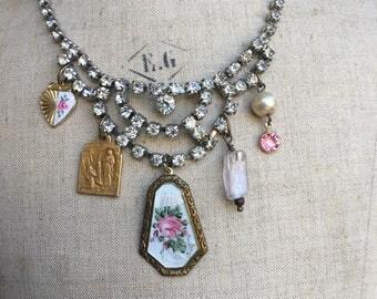 Vintage assemblage necklace rose enamel guilloche hearts rhinestones