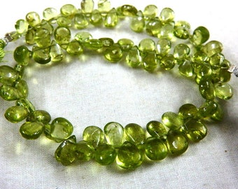 Peridot Beads AAA Smooth Briolette Pear Drops Beads,Peridot Beads 8'' Size 5MM To 6MM Approx 100% Natural Peridot Beads